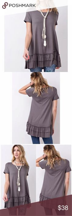 Purple Taupe Short Sleeve Double Ruffle Tunic Short sleeves round neck. Soft heavy rayon/ spandex material. Loos fit flow tunic with double ruffle. 95% rayon, 5% spandex. Fits true to size B Chic Boutique Tops Tunics