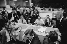 A sea of grim faces surround Flight Director Chris Kraft in the Manned Spacecraft Center (MSC) in Houston, Texas, in the aftermath of the Atlas-Agena malfunction in October Photo Credit: NASA Johnson Space Center, Mission Control, Nasa Missions, Nasa History, Vintage Space, The Atlas, Space Travel, Space Crafts, Apollo