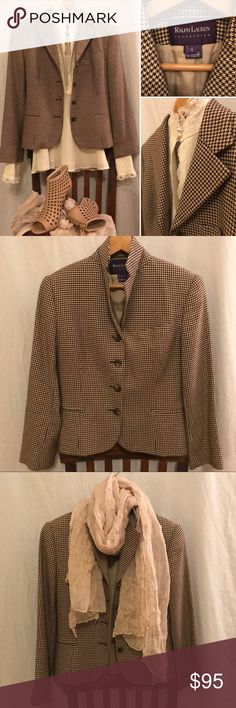 """Vintage R. Lauren Collection Cashmere-blend Blazer 🌟EUC🌟Quintessential vintage blazer from the high end luxury line, Ralph Lauren Collection, known for its classic tailoring, superlative fabrics, and vintage Art Deco-inspired prints. 🔹80% cotton/20% cashmere 🔹Length: 22"""" from top of shoulder 🔹Bust: 16"""" 🔹Arm Length: 23"""" from top shoulder seam 🔹Fully lined 🔹Made in the U.S.A.🇺🇸 Ralph Lauren Purple Label Jackets & Coats Blazers"""