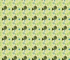 Horn Notes - green fabric by marchingbandstuff on Spoonflower - custom fabric