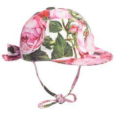 Dolce & Gabbana - Girls Pink 'Rose Bianco' Fisherman Cap | Childrensalon
