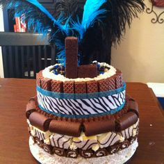 """Snack Cake cake""--A cake covered in Little Debbie snack cakes."