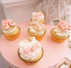 Girly pink, white & gold cupcakes from a Diamonds & Dior 1st Birthday Party on Kara's Party Ideas | KarasPartyIdeas.com (16)