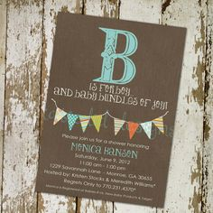 baby boy shower invitation with B is for boy and by katiedidesigns, $13.00