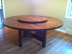 6 Round Table In Walnut With Removable Lazy Susan