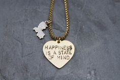 Happiness Heart and State Necklaces on BourbonandBoots.com