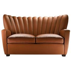 """""""Zarina Divanetto"""" Leather Two-Seat Sofa Designed and Manufactured by Adele-C   From a unique collection of antique and modern sofas at https://www.1stdibs.com/furniture/seating/sofas/"""