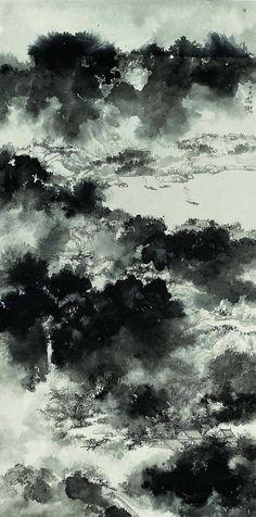 Koon Wai Bong(管偉邦 Chinese) Mountains after rain, Sumi e Asian Landscape, Chinese Landscape Painting, Japanese Painting, Chinese Painting, Japanese Art, Landscape Paintings, Abstract Landscape, Landscapes, Art Chinois