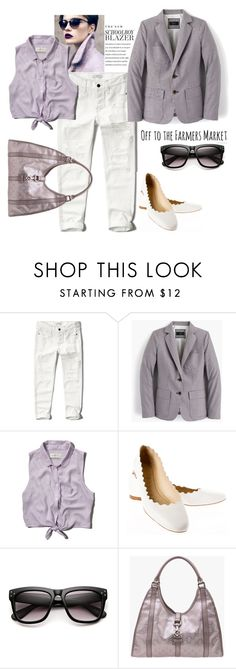 """""""Boy's Blazer"""" by mrs-rc ❤ liked on Polyvore featuring J.Crew, Abercrombie & Fitch, Chloé and Gucci"""