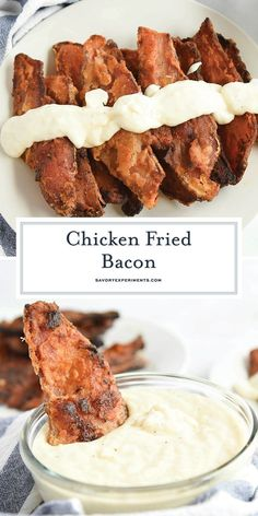 Chicken Fried Bacon is thick cut bacon dredged in seasoned flour, like chicken fried steak, and then fried to a golden brown and served with Cream Gravy. Fried Bacon Recipes, Deep Fried Recipes, Easy Meat Recipes, Best Chicken Recipes, My Recipes, Snack Recipes, Cooking Recipes, Amazing Recipes, Sausage Recipes