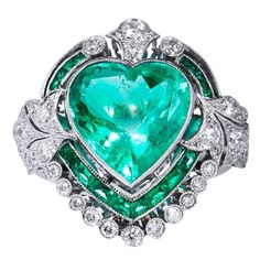 5.87 Carat Heart Shaped Colombian Emerald Diamond Platinum Ring