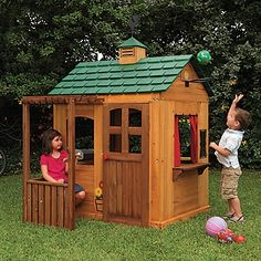 Great deal! Our gorgeous wood playhouse is so much more appealing than plastic play huts, and an outstanding deal compared to other wood playhouses