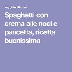 Spaghetti con crema alle noci e pancetta, ricetta buonissima