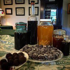 """Delicious. Winter. Medicines."" Elderberry cordial, Fire Cider, galic honey and ::ahhhhhh:: Bliss Balls."