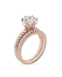 Moissanite-Round Cut Pave Rose Gold Bridal Set-My Faux Diamond