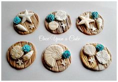Turn simple cupcakes into beach wedding elegant centerpieces by just simply placing these 6 edible toppers on top!   They shimmer opalescent & gold in the natural light!