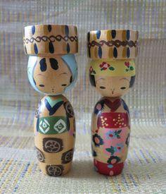 Japanese Oriental Wood Kokeshi Dolls Heavenly Hats | eBay