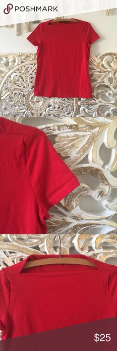 """Kate Spade Red Slip Neck Tee Red Slip Neck Tee by Kate Spade Saturday. 100% cotton. Bust 17"""". Length 23"""". No flaws to note. NO TRADES/NO MODELING  000116 kate spade Tops Tees - Short Sleeve"""