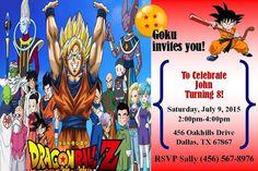 Dragon Ball Invitation 4x6 JPEG File By RoyalDukesAndBlues Dragonballinvitation Birthday Parties 9th