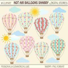 Hot Air Balloons Clipart HOT AIR BALLOONS Shabby by DigitalStories, €3.00