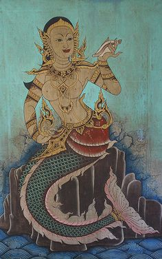 A Thai Mermaid - I dedicate this one to you Christen because you love all things Thai and you were my very first Mermaid! Love you always, Mom Mermaid Fairy, Mermaid Tale, Fantasy Mermaids, Mermaids And Mermen, Fantasy Creatures, Sea Creatures, Thailand Art, Vietnam, Underwater Creatures