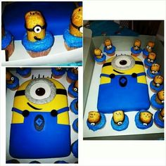 My minion dispicable me Cake & Cup Cakes  !!!