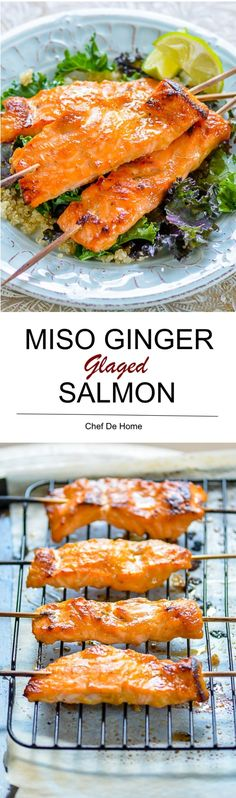 Omega 3 rich Miso Ginger Baked Salmon with lite Lemony Sesame Kale Salad | chefdehome.com