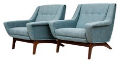 Pair of Newly Upholstered Danish Easy Chairs with Teak Legs c.19