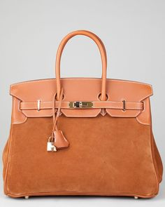 Hermes Gold Barenia Leather & Suede Grizzly Birkin 35cm GHW