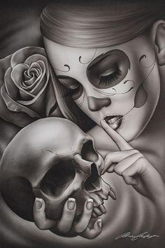 Hasta La Muerte by Spider Tattoo Death Mask Woman Art Giclee Print – Tattoo Pattern Skull Girl Tattoo, Sugar Skull Tattoos, Sugar Skull Art, Evil Skull Tattoo, Latina Tattoo, Tattoo Caveira, Aztecas Art, Spider Tattoo, Mask Tattoo