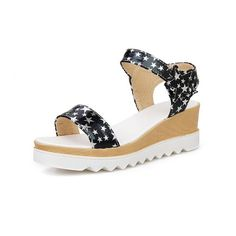 AmoonyFashion Women's Kitten-Heels Patent Leather Hook-and-loop Open Toe Wedges-Sandals >>> You can get additional details at the image link.