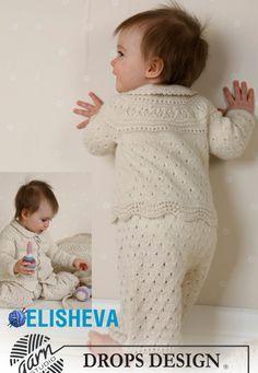 Комплект для малыша от Drops Design: жакет, чепчик, штаны и пинетки спицами и крючком | Блог elisheva.ru