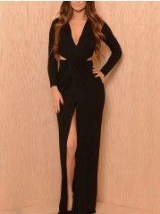 Appealing V Neck Hollow Out Plain Party-dress
