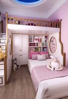 Gestaltungsidee für ein Mädchenzimmer im rosa Design - New ideas Bed For Girls Room, Bedroom Decor For Teen Girls, Cute Bedroom Ideas, Room Ideas Bedroom, Awesome Bedrooms, Girl Room, Bed For Kids, Small Bedroom Ideas For Teens, Loft Beds For Small Rooms
