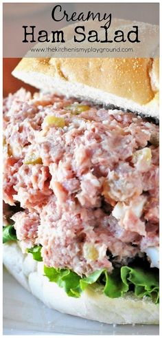Ham Salad ~ perfect comfort food recipe for enjoying those ham leftovers! Creamy Ham Salad ~ perfect comfort food recipe for enjoying those ham leftovers! Ham Salad Recipes, Pork Recipes, Cooking Recipes, Cooking Games, Chopped Ham Salad Recipe, Low Carb Ham Salad Recipe, Deviled Ham Salad Recipe, Recipies, Cooking Bacon