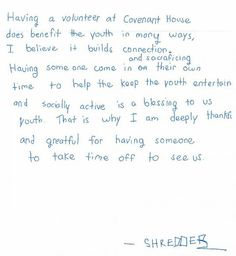 a youth letter thanking our volunteers