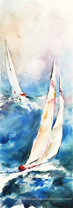 Sailboat Watercolor Art. Sailing. America's Cup Art Print. Ocean. Blue. Red. Watercolor Giclee. Nautical Watercolor Artwork. Sailboat Racing