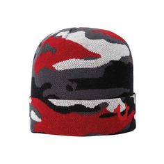 Men's True Religion Camo Watchcap - True Red ($50) ❤ liked on Polyvore featuring men's fashion, men's accessories, men's hats, red, mens beanie hats, mens beanie caps, mens camo hats and mens red hats