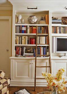 . Bookshelves In Bedroom, Decorating Bookshelves, Bookcase Wall, Bedroom Shelf Design, Bedroom Decor, Master Bedroom, Traditional Bookcases, Traditional House, Diy Dining Table