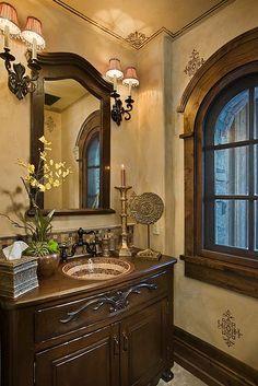 Yellowstone Club Powder bath by Locati Interiors. Mountain home. Mosaic sink. Arched windows. Faux finish wall.