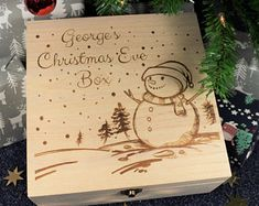 Engraved Xmas Eve Box - Personalized Custom Wooden Christmas Box for Children, Ready to Fill with Gifts - 3 Sizes - Christmas Characters - Christmas Tips for 2020 Snowy Christmas Scene, Wooden Christmas Eve Box, Childrens Christmas, Christmas Post, The Night Before Christmas, Kids Christmas, Christmas Crafts, Christmas Boxes, Xmas Eve Boxes