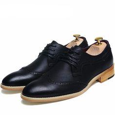 Hush Puppies Cale Wing Tip, Zapatos de Cordones Brogue para Hombre, Negro (Black), 46 EU
