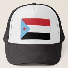South Yemen Flag Personalize Trucker Hat, Adult Unisex, Size: One size, White and Black