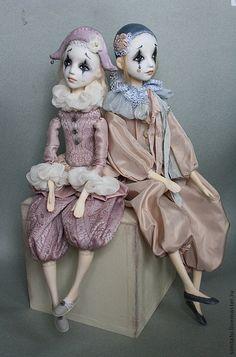 Купить Пьерошка. Подвижная кукла - бледно-розовый, серый, подвижная кукла, кукла ручной работы