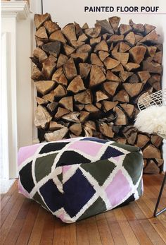 If you ask me you can never have enough floor pillows or poufs. They're  perfect for a living room where you need a little extra seating every now  and then. Personally there is nothing I like better than flopping down on  the floor. It keeps things casual and intimate.  I keep seeing these great graphic printed floor poufs in stores everywhere  but I haven't been able to bring myself to spend the $200-$500 price tag  they often come with. I thought how hard could it be to make my own! The  ...
