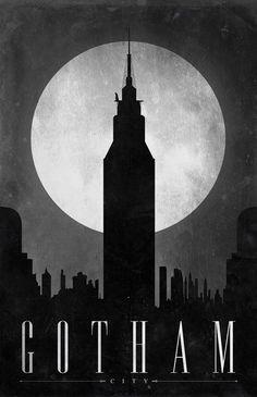 """Gotham City"" poster, referencing Batman, part of the series ""Comic Book Travel Posters."" Concept by Justin Van Genderen. Batman Poster, Batman Hq, Batman Arkham City, Batman Arkham Knight, Batman Robin, Comic Poster, Superhero Poster, Riddler Gotham, Joker Arkham"
