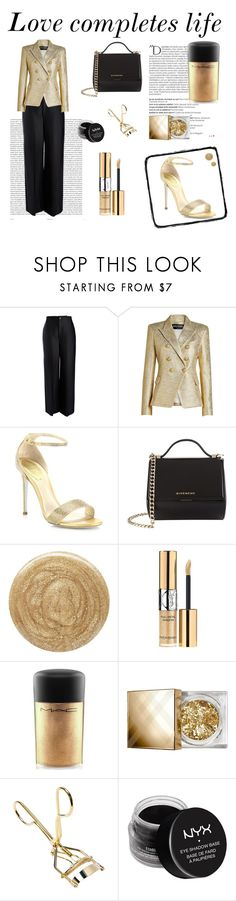 """""""Love completes life"""" by the-pink-poppy ❤ liked on Polyvore featuring Oris, Joseph, Balmain, René Caovilla, Givenchy, Burberry, Yves Saint Laurent, MAC Cosmetics and NYX"""