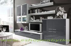 Tuscan I Entertainment Unit for TVs up to Selsey Living Colour: White/Grey Wall Display Cabinet, Hanging Cabinet, Dcor Design, Modern Design, Living Room Furniture, Modern Furniture, Buy Tv Stand, Hazelwood Home, High Quality Furniture