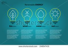 Yellow outline bulb with sun as logo with copyspace on blue background. Idea of eco-friendly source of energy. Renewable energy source. Energy conservation. Energy efficiency. Energy saving - stock vector