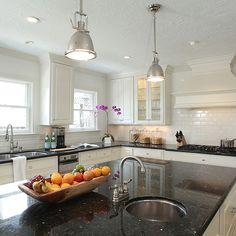 Black Granite Countertops, Transitional, kitchen, Ashley Goforth Design